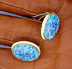 Click to view larger image of Earrings 14K Yellow Gold Opal French Clip Post  (Image1)