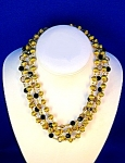 Crystal Gold Black Jet Chain Link 4 Strand Bead Neckla