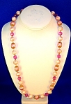 Hot Pink Crystal  Pearl Bead Necklace