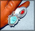 Click to view larger image of Native Ameican Coral Sterling Silver Turquoise JT Ring (Image4)