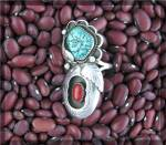 Click to view larger image of Native Ameican Coral Sterling Silver Turquoise JT Ring (Image7)