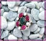 Click to view larger image of Ruby Emerald Pearl Sterling Silver Ring (Image7)