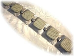 Click here to enlarge image and see more about item 0112200237: Silver & Green Leather Wide Designer Bracelet.