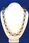 30 Inch Large Pink  Faceted Smoked Grey Lucite Necklace