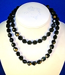 Jet Black Faceted 11mm Glass  Beads Japan