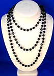 Jet Glass Bead 58 Inch Necklace