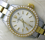 Click here to enlarge image and see more about item 0112200831: ROLEX Diamond Face 18K and Stainless Steel Wristwatch