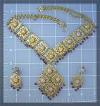 Click to view larger image of Filigree Glass Opal and Amethyst Crystal  Necklace Earr (Image2)