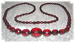 Necklace Rare Faceted Cherry Amber 30 Inch
