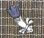 Brooch Spratling Style Silver Hand and Amethyst Tulip