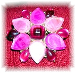 Plastic Lucite Pink Red Flower brooch