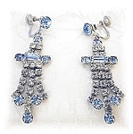 Aquamarine  Blue  White Crystal Chandelier Earrings