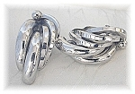 BERGERIE Large Silvertone  Clip Earrings