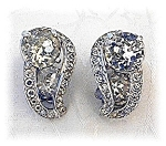 Earrings EISENBERG Crystal Silver RhodiumVintage  Clip
