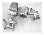 Large Sterling Silver Star Clip Earrings