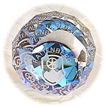Click here to enlarge image and see more about item 0116200504: Beautiful Faceted Paperweight Sines Blue