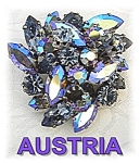Click to view larger image of  Brooch Signed Austrian Pink Green Borealis Crystals  (Image1)