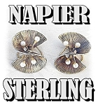 Click here to enlarge image and see more about item 0116200515: NAPIER Sterling Silver 3mm Pearl gold Wash Clip Earring