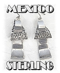 Click to view larger image of Signed Sterling Mexico TE-24 Dangly Pierced Earrings (Image1)
