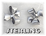 Sterling Silver Bows Signed B Patent Clip Earrings