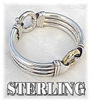 Click here to enlarge image and see more about item 0116200527: Sterling Silver Signed Far Fan Bracelet