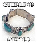 Click here to enlarge image and see more about item 0116200529: Mexico Sterling Silver Green Glass Jade Bracelet