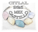 Click here to enlarge image and see more about item 0116200533: Taxco Mexico Sterling Silver Agate Bracelet Citlal
