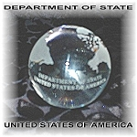 Click here to enlarge image and see more about item 0116200567: Department Of State Glass World Globe