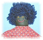 Click here to enlarge image and see more about item 01162006124:  Doll Black Folk Art Circa 1930s Handmade 8 Inch