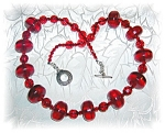 Necklace Cherry Amber  Czch Glass Sterling Silver Bead