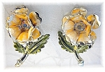 Enamel & Rhinestone Flower Clip Earrings