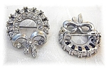2 Small Silvertone Rhinestone Brooches