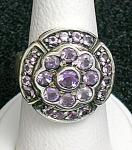 Sterling Silver Amethyst Pink Crystal Flower  Ring