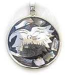 Click to view larger image of Mexican Silver Abalone Aztec Eagle Warrior  Pendant (Image1)