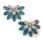 Dress Clips Emerald Clear Glass  Rhinestones