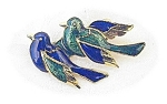 Enamel Bue and Green  Birds Brooch Goldtone USA