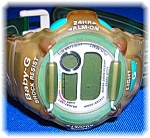 Click here to enlarge image and see more about item 0119200716: Turquoise Green Clear Baby G G-Lide Wristwatch