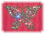 Click here to enlarge image and see more about item 0120200688: WEISS  Crystal Butterfly Red Pink Blue Borealis Brooch