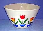 Click to view larger image of FIRE KING - oven ware - Mixing bowl - Tulips. . . . . (Image1)