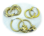3 Pairs Goldtone Hoop Earrings