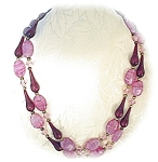 Cranberry Lucite Pink Glass Crystal Bead 2 Row Necklace