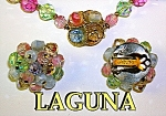 LAGUNA Crystal Pink White Blue Necklace Earrings