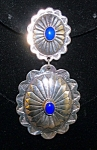 Earrings Sterling Silver Blue Lapis Concho Dangle Clip