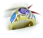 Ring 14K Diamond Amethyst  Opal  Gold