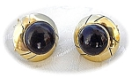 10K Gold Black Onyx French Back Pierced Clip  Earrings