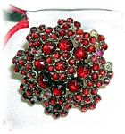 Click here to enlarge image and see more about item 01272006095: 14K Gold Silver  Bohemian Garnet Ring 1940s