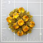 Fur or Dress Clip Golden Amber Glass Filigree 50s