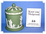 Click here to enlarge image and see more about item 0130200614: Discontinued Green Wedgewood Tall Lidded Jar