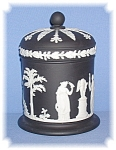 Click here to enlarge image and see more about item 0130200619: Discontinued Black Wedgewood Tall Lidded Jar