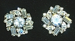 WEISS Round Crystal Marquise Emerald Cut Clip Earrings
